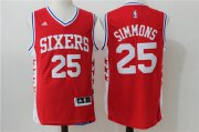Wholesale Cheap Men's Philadelphia 76ers #25 Ben Simmons Red Revolution 30 Swingman Basketball Jersey
