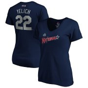 Wholesale Cheap National League #22 Christian Yelich Majestic Women's 2019 MLB All-Star Game Name & Number V-Neck T-Shirt - Navy