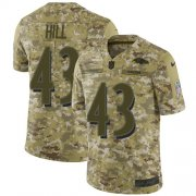 Wholesale Cheap Nike Ravens #43 Justice Hill Camo Youth Stitched NFL Limited 2018 Salute To Service Jersey