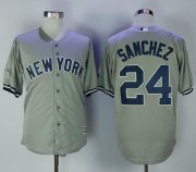 Wholesale Cheap Yankees #24 Gary Sanchez Grey New Cool Base Stitched MLB Jersey