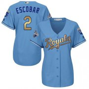 Wholesale Royals #2 Alcides Escobar Light Blue Women's 2015 World Series Champions Gold Program Cool Base Stitched Baseball Jersey