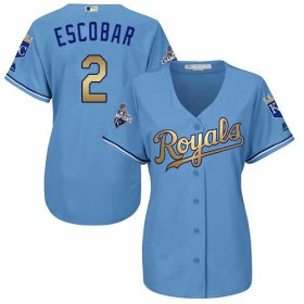 Wholesale Royals #2 Alcides Escobar Light Blue Women\'s 2015 World Series Champions Gold Program Cool Base Stitched Baseball Jersey