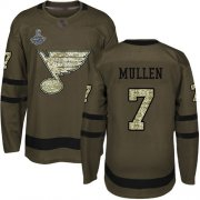 Wholesale Cheap Adidas Blues #7 Joe Mullen Green Salute to Service Stanley Cup Champions Stitched NHL Jersey