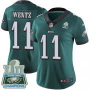 Wholesale Cheap Nike Eagles #11 Carson Wentz Midnight Green Team Color Super Bowl LII Champions Women's Stitched NFL Vapor Untouchable Limited Jersey