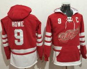 Wholesale Cheap Red Wings #9 Gordie Howe Red Name & Number Pullover NHL Hoodie