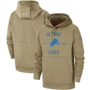 Wholesale Cheap Men's Detroit Lions Nike Tan 2019 Salute to Service Sideline Therma Pullover Hoodie