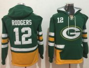 Wholesale Cheap Nike Packers #12 Aaron Rodgers Green/Gold Name & Number Pullover NFL Hoodie