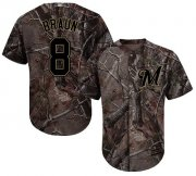 Wholesale Cheap Brewers #8 Ryan Braun Camo Realtree Collection Cool Base Stitched Youth MLB Jersey