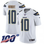 Wholesale Cheap Nike Chargers #10 Justin Herbert White Men's Stitched NFL 100th Season Vapor Untouchable Limited Jersey
