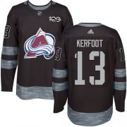 Wholesale Cheap Adidas Avalanche #13 Alexander Kerfoot Black 1917-2017 100th Anniversary Stitched NHL Jersey