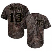 Wholesale Cheap Twins #13 Ehire Adrianza Camo Realtree Collection Cool Base Stitched Youth MLB Jersey