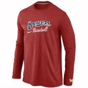 Wholesale Cheap Milwaukee Brewers Long Sleeve MLB T-Shirt Red