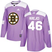 Wholesale Cheap Adidas Bruins #46 David Krejci Purple Authentic Fights Cancer Stitched NHL Jersey