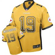 Wholesale Cheap Nike Steelers #19 JuJu Smith-Schuster Gold Men's Stitched NFL Elite Drift Fashion Jersey