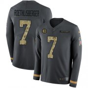 Wholesale Cheap Nike Steelers #7 Ben Roethlisberger Anthracite Salute to Service Youth Stitched NFL Limited Therma Long Sleeve Jersey