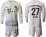 Wholesale Cheap Bayern Munchen #27 Alaba Away Long Sleeves Soccer Club Jersey