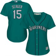 Wholesale Cheap Mariners #15 Kyle Seager Green Alternate Women's Stitched MLB Jersey