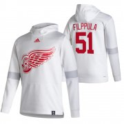 Wholesale Cheap Detroit Red Wings #51 Valtteri Filppula Adidas Reverse Retro Pullover Hoodie White