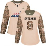 Wholesale Cheap Adidas Capitals #8 Alex Ovechkin Camo Authentic 2017 Veterans Day Women's Stitched NHL Jersey