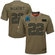 Wholesale Cheap Youth Carolina Panthers #22 Christian McCaffrey Nike Camo 2019 Salute to Service Game Jersey