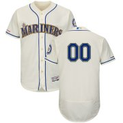 Wholesale Cheap Seattle Mariners Majestic Alternate Flex Base Authentic Collection Custom Jersey Cream