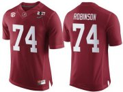 Wholesale Cheap Men's Alabama Crimson Tide #74 Cam Robinson Red 2017 Championship Game Patch Stitched CFP Nike Limited Jersey