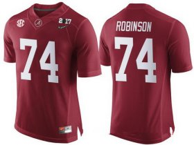 Wholesale Cheap Men\'s Alabama Crimson Tide #74 Cam Robinson Red 2017 Championship Game Patch Stitched CFP Nike Limited Jersey