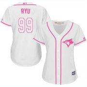 Wholesale Cheap Blue Jays #99 Hyun-Jin Ryu White/Pink Fashion Women's Stitched MLB Jersey