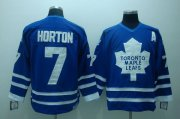 Wholesale Cheap Maple Leafs #7 Tim Horton Stitched Blue CCM Throwback NHL Jersey