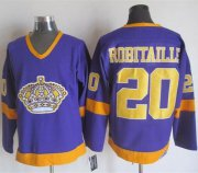 Wholesale Cheap Kings #20 Luc Robitaille Purple/Yellow CCM Throwback Stitched NHL Jersey