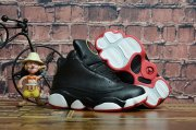 Wholesale Cheap Kids' Air Jordan 13 Playoff Shoes Black/White-red