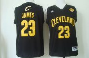 Wholesale Cheap Men's Cleveland Cavaliers #23 LeBron James 2016 The NBA Finals Patch Black With Gold Swingman Jersey