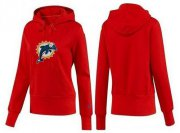 Wholesale Cheap Women's Miami Dolphins Logo Pullover Hoodie Red