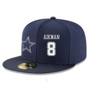 Wholesale Cheap Dallas Cowboys #8 Troy Aikman Snapback Cap NFL Player Navy Blue with White Number Stitched Hat