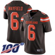 Wholesale Cheap Nike Browns #6 Baker Mayfield Brown Team Color Men's Stitched NFL 100th Season Vapor Limited Jersey