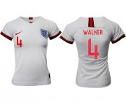 Wholesale Cheap Women's England #4 Walker Home Soccer Country Jersey