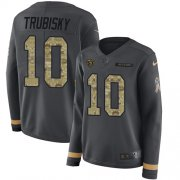 Wholesale Cheap Nike Bears #10 Mitchell Trubisky Anthracite Salute to Service Women's Stitched NFL Limited Therma Long Sleeve Jersey