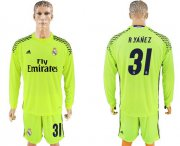 Wholesale Cheap Real Madrid #31 R.Yanez Shiny Green Goalkeeper Long Sleeves Soccer Club Jersey