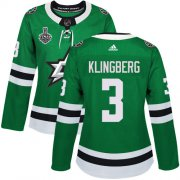 Cheap Adidas Stars #3 John Klingberg Green Home Authentic Women's 2020 Stanley Cup Final Stitched NHL Jersey