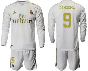 Wholesale Cheap Real Madrid #9 Benzema White Home Long Sleeves Soccer Club Jersey