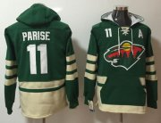 Wholesale Cheap Wild #11 Zach Parise Green Name & Number Pullover NHL Hoodie