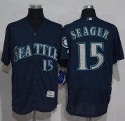 Wholesale Cheap Mariners #15 Kyle Seager Navy Blue Flexbase Authentic Collection Stitched MLB Jersey