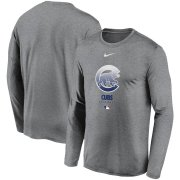 Wholesale Cheap Men's Chicago Cubs Nike Charcoal Authentic Collection Legend Performance Long Sleeve T-Shirt