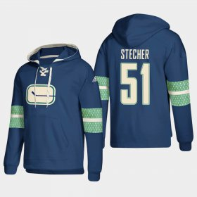 Wholesale Cheap Vancouver Canucks #51 Troy Stecher Blue adidas Lace-Up Pullover Hoodie