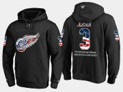 Wholesale Cheap Red Wings #3 Nick Jensen NHL Banner Wave Usa Flag Black Hoodie