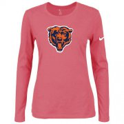 Wholesale Cheap Women's Nike Chicago Bears Of The City Long Sleeve Tri-Blend NFL T-Shirt Pink