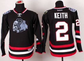 Wholesale Cheap Blackhawks #2 Duncan Keith Black(White Skull) 2014 Stadium Series Stitched Youth NHL Jersey