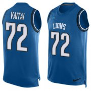 Wholesale Cheap Nike Lions #72 Halapoulivaati Vaitai Blue Team Color Men's Stitched NFL Limited Tank Top Jersey
