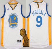 Wholesale Cheap Golden State Warriors #9 Andre Iguodala Revolution 30 Swingman 2014 New White Jersey With 2015 Finals Champions Patch