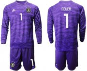 Wholesale Cheap Germany #1 Neuer Purple Goalkeeper Long Sleeves Soccer Country Jersey